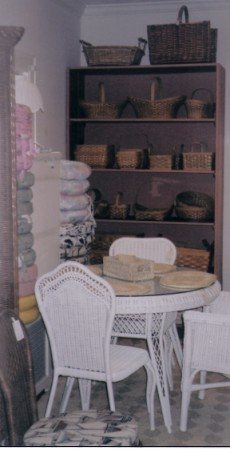 white wicker furniture & wicker baskets