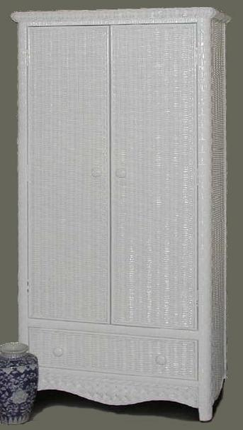 White Wicker Armoire With Double Doors Latticework Wicker Wardrobe