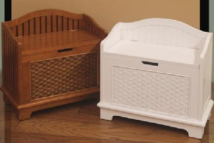 bead board and wicker lift top storage chest