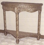 wicker half moon table