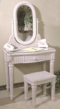 wicker furniture - wicker vanity with bench #4070