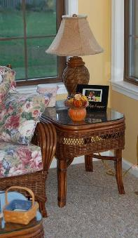 rattan living room end table #4139