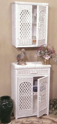 wicker linen cabinets - wall cabinet & floor cabinet