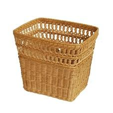 rectangular wicker wastebasket