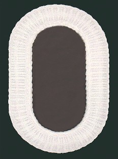 oval white wicker mirror #4926