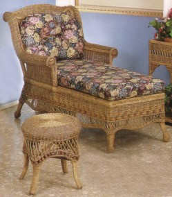 wicker furniture - chaise , footstool #6100-9