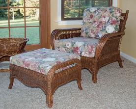 rattan armchair and ottoman for porch or living room #4139