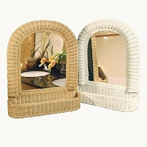 wicker bathroom mirror with tray