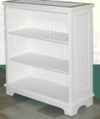 three shelf beadboard bookshelf with glass top & adjustable shelves