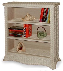 three shelf rattan bookshelf