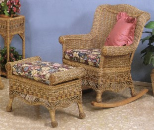 wicker porch furniture - rocker , ottoman #6100-9