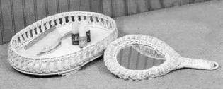 wicker vanity tray & hand mirror