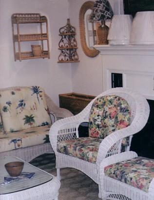 white wicker furniture on display