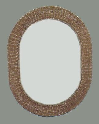 large oval brown wicker mirror #4474