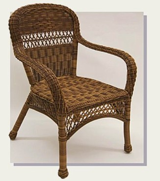 Aluminum Frame Outdoor Resin Wicker Arm Chair Shown In BROWN Stock #4178PA  $204 Economy/no Cushion 26 X 23 X 38