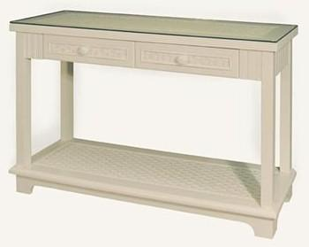 Beadboard Console Table W/two (2) Drawers U0026 Glass Top Shown In WHITE Stock  #4284CS