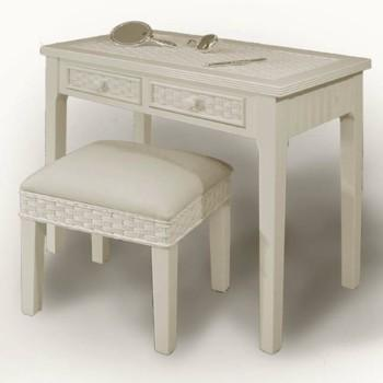 Versatile Piece Of Beadboard Wicker Furniture Dressing Table, Vanity,  Writing Table, Hall Table, Mail Table