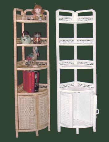 Tall Free Standing Wicker Corner Shelf