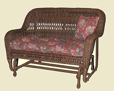 all weather wicker double glider pictured in brown stock 4178p - Wicker Porch Swing