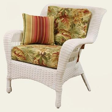 Deep Seat Resin Wicker Arm Chair Pictured In WHITE Stock #4209AC