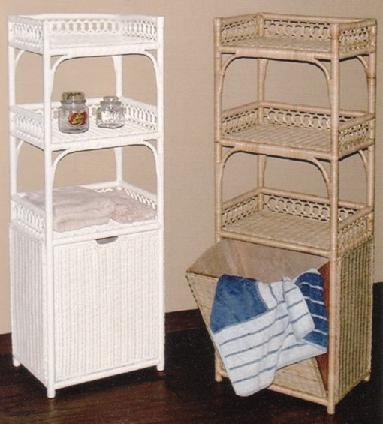 tall wicker laundry hamper with shelves & tilt out bin