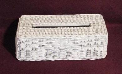 White Closed Woven Tissue Box Cover