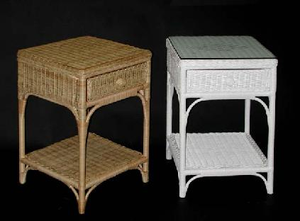 wicker end tables with drawer