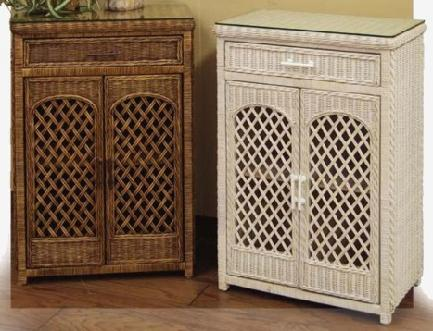 Elegant Bathroom Furniture Storage Wicker Utility Linen Cabinet