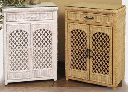 Le White Wooden Storage Bathroom Cabinet With Wicker Basket