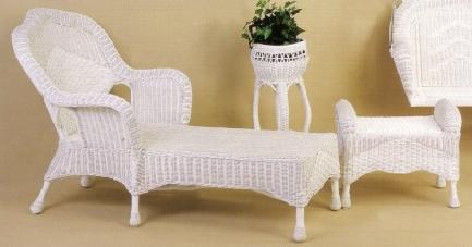 wicker chaise - wicker ottoman : porch set #6210-9