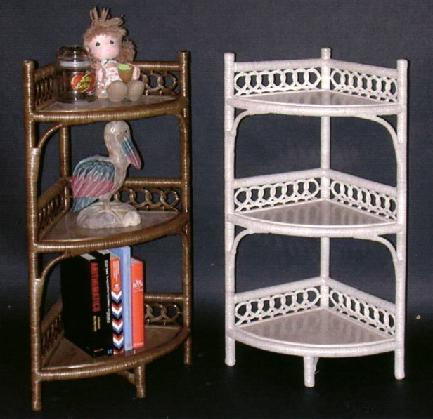 corner wicker shelf