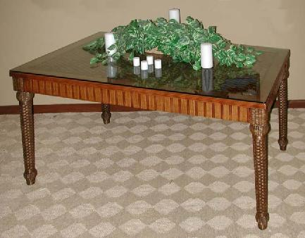 dining room table with wicker and rattan design