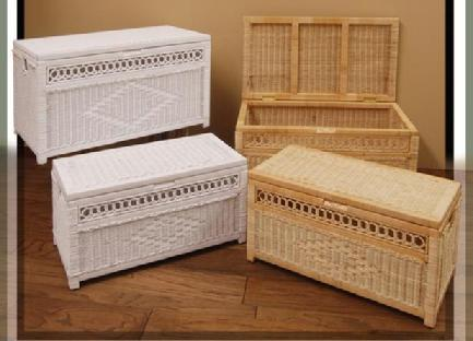 wicker storage trunks