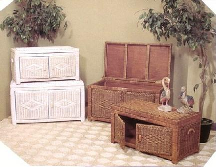 wicker trunks double as coffee tables