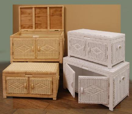 wicker storage trunks and chests