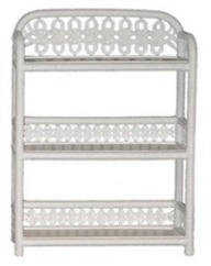 white wicker bathroom wall shelf with 3 tiers