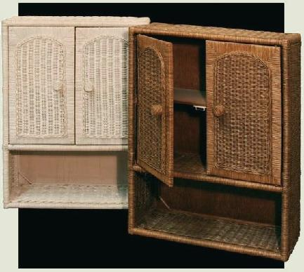 bathroom wicker cabinets pictured in whitewash and brown colors