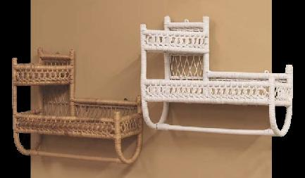 versatile bath wall shelf with towel bar and option to fit in corner stock #4941