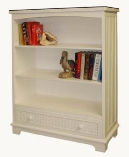 beadboard bookcase with drawer shown in white