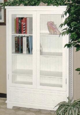 beadboard bookcase with double glass doors & 1 drawer