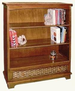 beadboard bookshelf with drawer pictured in brown