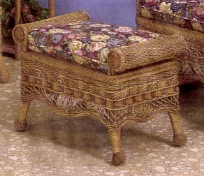brown beaded style wicker ottoman