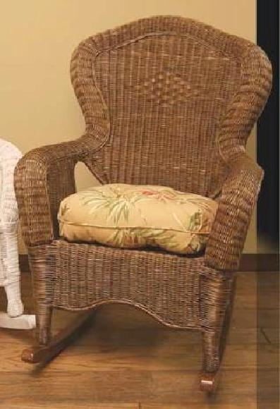 diamond design brown wicker rocker