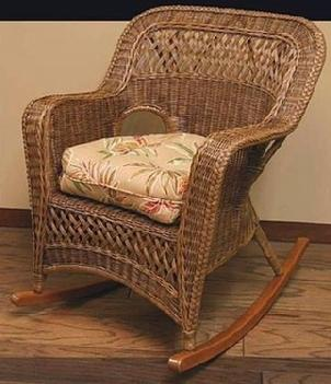 indoor wicker rocker shown in brown