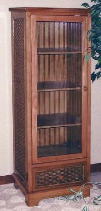 beadboard book cabinet with glass door and shelves