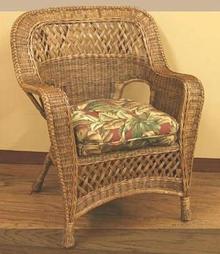 indoor wicker armchair pictured in brown