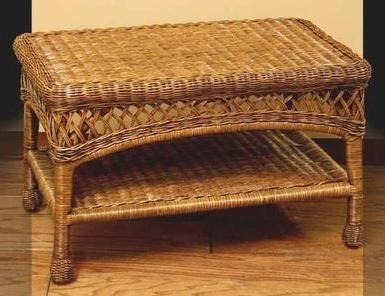 real wicker coffee table pictured in brown