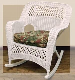 real wicker rocker pictured in white