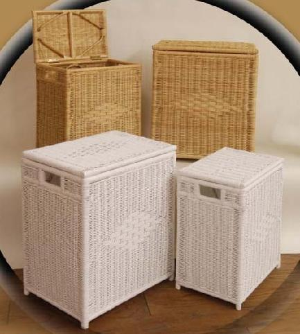 wicker laundry hampers shown in natural & white