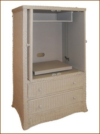 Superbe Rattan Pocket Door Tv Armoire
